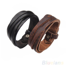 Men Women Unisex Multi thong braided thin Genuine Leather Bracelet wristband Jewelry Items 068F