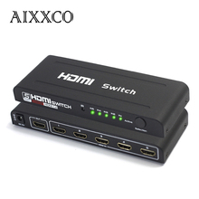 AIXXCO HDMI Switch Splitter 5 Port HDMI Splitter 5 in1 converter Auto Ultra For HDTV v1.4 3D 1080p HD IR with Remote Control