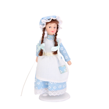 Porcelain Dolls Braided Hair Little Servent Girl w Stand Dollhouse Miniature Scale: 1:12 Christmas Gift Toys for Kid Children