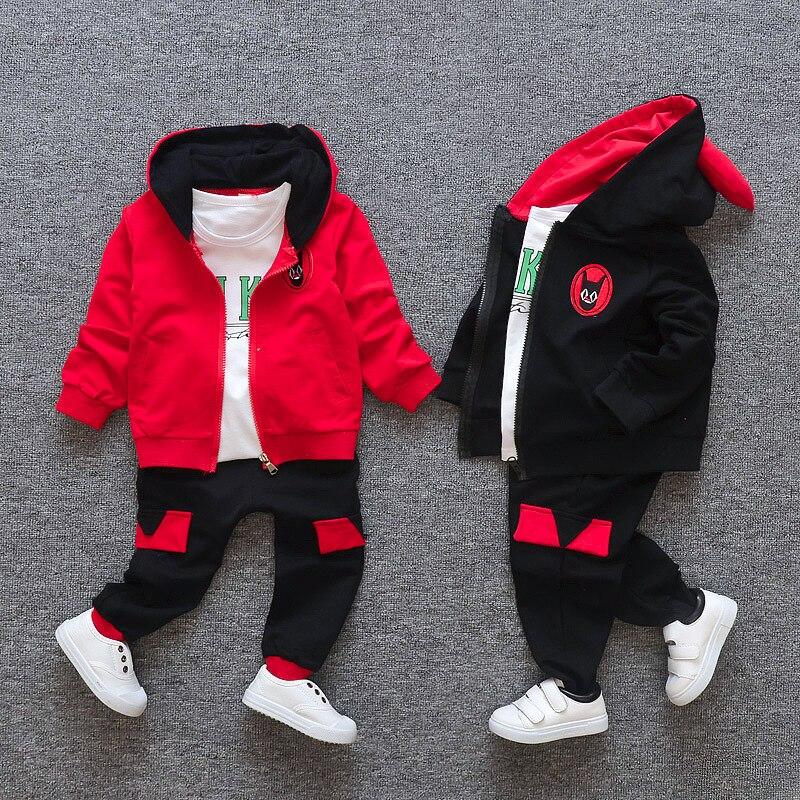 3PCS Kids Baby boys/Girls warm hooded coat + T-shirt +pants Set<br>