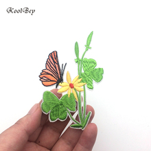 20pcs/lot Butterfly Leaves Embroidery Iron on Patch for Clothes DIY Flowers Sew on Small Applique Apparel Accessories SC3446