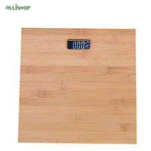 ALLiSHOP Bamboo 180KG  bathroom scales 33cm*33cm smart led digital floor balance weighing-machine body Household weight Scale