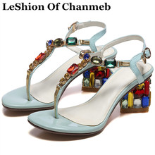 LeShion Of Chanmeb luxury brand women's colorful crystal sandals diamond flip flops summer beach shoes sweet lady party sandals
