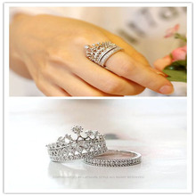New fashion accessories jewelry Top quality crystal Imperial crown finger ring set for women girl nice gift R1490