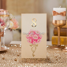 European Style Golden Pink Table Card with number 2014 Wedding Reception as Wedding Decoration