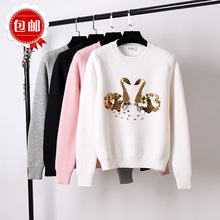 winter loose nail bead swan flash sequins sweater