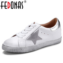 FEDONAS Fashion Brand Women Genuine Leather 츠 Shoes Cross 발전 계통 연계 태양 광 Round Toe Casual Shoes Woman 숙 녀 숨 Loafer Shoes(China)