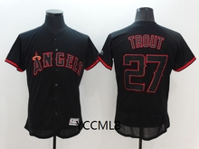 MLB Men's Los Angeles Angels 27 Trout Black Shadow Baseball Flex Base Authentic Collection Player Jersey(China)