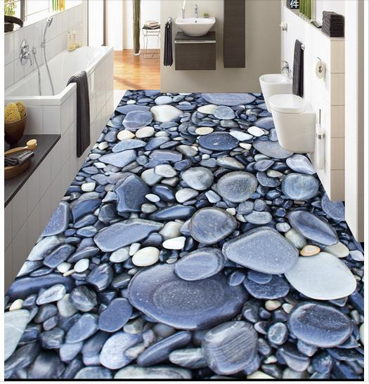 3D wallpaper custom 3d flooring painting wallpaper The bathroom floor 3 d art stone pebbles wall paper 3d living room decoration<br>