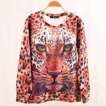 New Autumn Winter Women's Hoodies Real Leopard Tiger Lion Printed Pullover Sweatshirts Tracksuit Tops Outerwear Plus Size