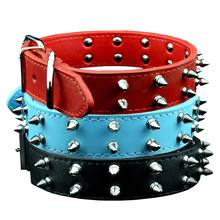 Bullet Rivet Spiked Studded Leather Dog Collars Punk Style Collars For Medium Large Dogs  Pitbull Bully Black Red Blue
