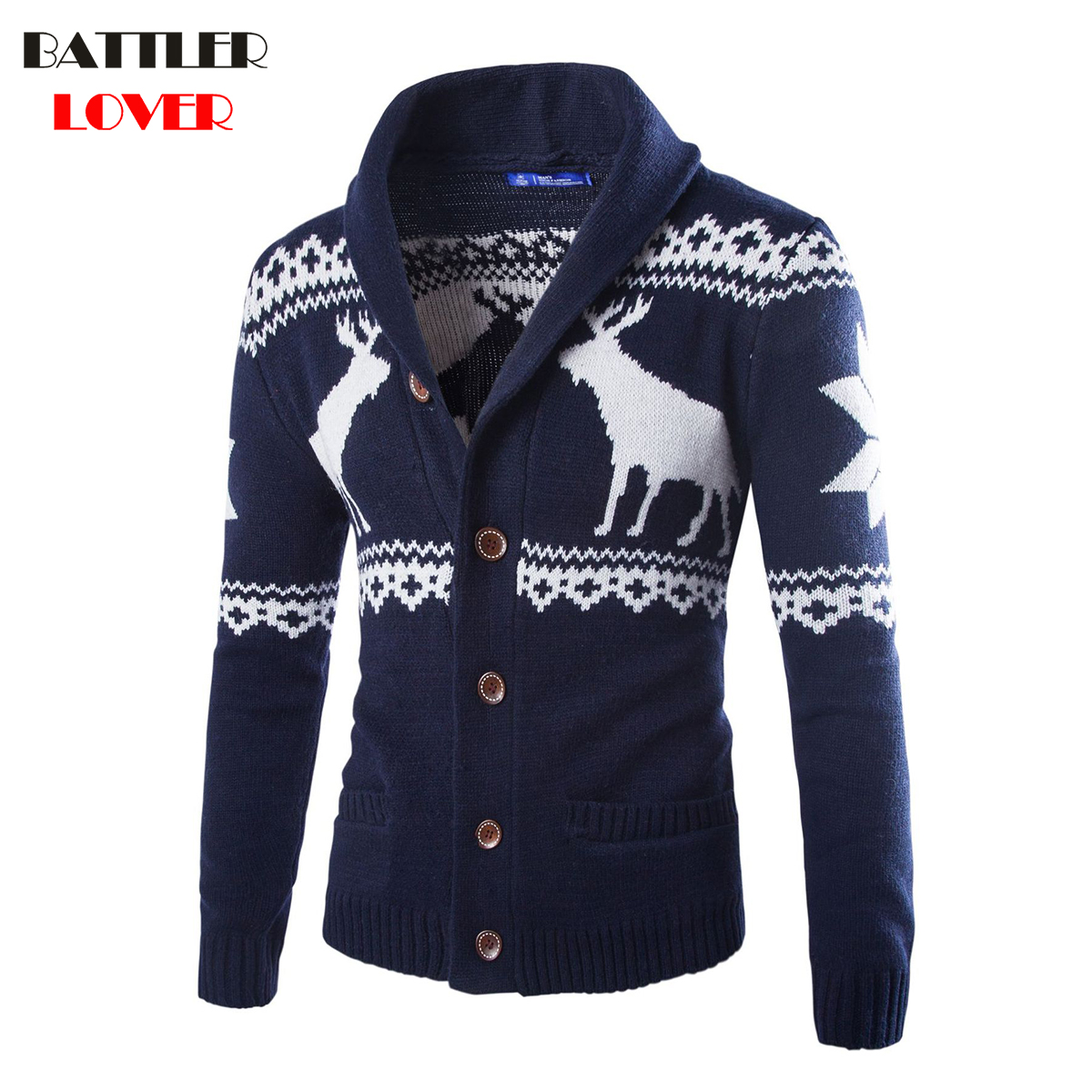 Mens Sweaters Christmas Deer Men Winter Thick Warm Clothes Casual Jacket Coat Jumper Autumn Men Outwear Sweater 2018 Cardigans