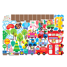 City Transport System,Train,Cars,School bus,Fire Truck Kids Mural Wall Decals(China)