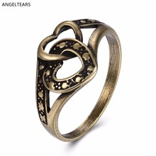 Cheap Antique Bronze Plated Double Heart Finger Ring Vintage Punk Jewelery Size 6-9 # For Women Valentine's Day Gift anel(China)