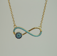 2017 luxury high quality pave turquoises evil eye infinity charm 925 sterling silver women gold color necklace fashion(China)