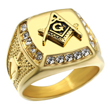 HIP Bling Iced Out Crystal Freemason Masonic Free Mason Signet Rings 316L Stainless Steel Gold Ring for Men Hip Hop Jewelry