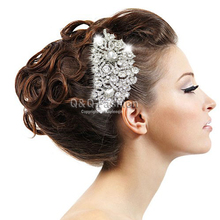 Silver Bridal Diamante Crystal Encrusted Jewel Flower Fascinator Hair Head Pin Clip Dress Comb Hair Jewelry Cosplay Accessories(China)