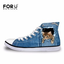 FORUDESIGNS 2017 Hot Women's High Top Vulcanize Shoes Cute 3D Animal Cat Denim Printed Classic Woman Casual Lace-up Canvas Shoes(China)
