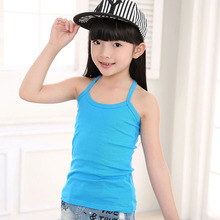 Girls camisole summer beach T-shirt cotton vest child tank girl underwear solid candy color girls tank tops kids clothing 2-14T(China)