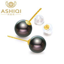 ASHIQI 18K Yellow Gold Tahitian Pearls Earrings 8-9mm Natural Black for women Classic stud earrings Perfectly Round(China)