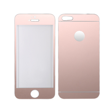 Full Cover mirror Color electroplating 2.5D 9H front back tempered glass for iphone 5 5s SE 4 4s Screen Protective Film(China)