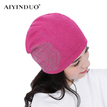 Fashion Korean Style Hot Fix Rhinestone Flowers Pattern Women Winter Sleeve Caps Ladies Warm Skull Cotton Knitted Baggy Beanies