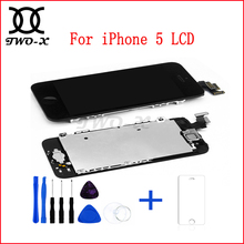 LCD Display For iphone 5 5G Full Assembly Touch Screen Digitizer Top A+ Quality with Front Camera+Home Button+Temper Glass+Tools