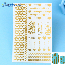 1 Sheet Hot Fashion Heart Link Style Design Glitter Flash Gold Nail Art Nail Sticker Temporary Tattoo Tools WG003 Nail  Stickers