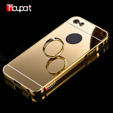 For Apple Iphone 5 Case IPhone 5S Case Gold Plated Aluminum Frame Mirror Acrylic Back Cover For Iphone SE Case Protector