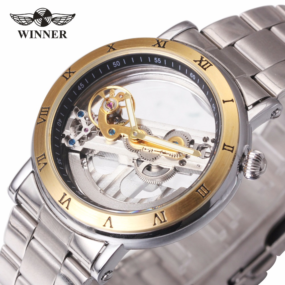 WINNER Men Mechanical Watch Skeleton Dial Watches Luxury Golden Bridge Full Steel Minimum Design Male Business Wristwatch <br>