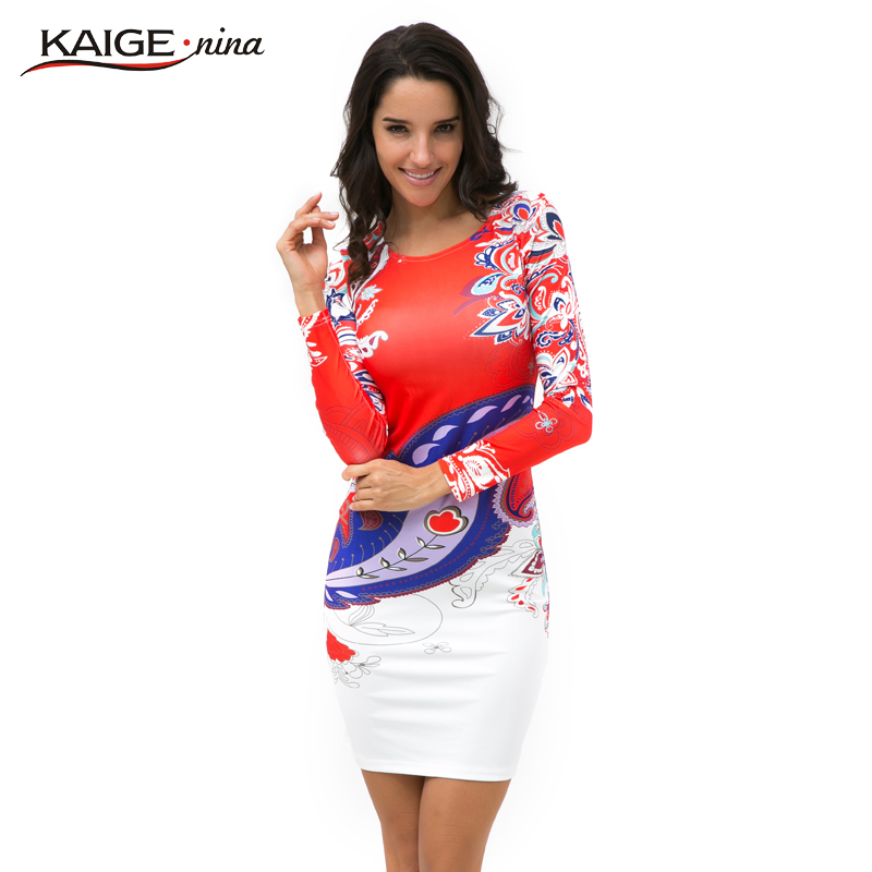 KaigeNina New Fashion Hot Sale Women Flower Natural Simple Printing Cloth O Neck Mid Calf Chiffon