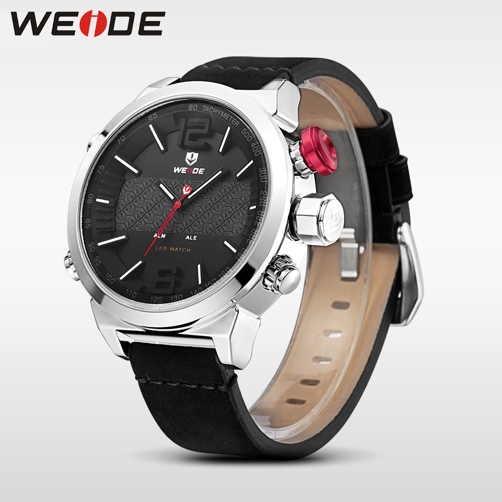 WEIDE luxury clock watches brand luxury leather sport led watch men digital masculino automatic chronograph waterproof relogio<br>