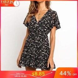 Женское летнее платье в стиле бохо, с цветочным принтом