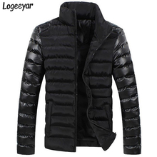 2017 New Winter Men Jackets Men's Coat Fashion Leather Sleeve Spliced Design Outwear Down Cotton Padded Jacket Men Asian M-3XL