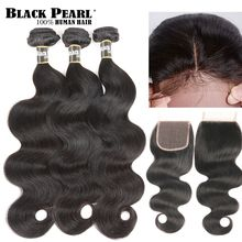 Black Pearl Peruvian Hair Bundles With Closure Body Wave Bundles With Closure Non remy  Human Hair 3 4 Bundles With Closure(China)