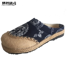 Buy Women Slippers Old Beijing Boho Cotton Linen Canvas Cloth Shoes National Handmade Woven Round Toe Flat Shoes Embroidered for $17.22 in AliExpress store