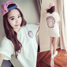 2017 Korean casual loose cute cartoon short-sleeved T-shirt was thin large size fat mm dress children