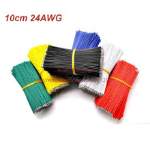 (100pcs/lot) 10cm 100mm 24AWG Colors Double Tinned Tin Plated Electronic Copper Wire Jumper Wire Cable Easy to Welding