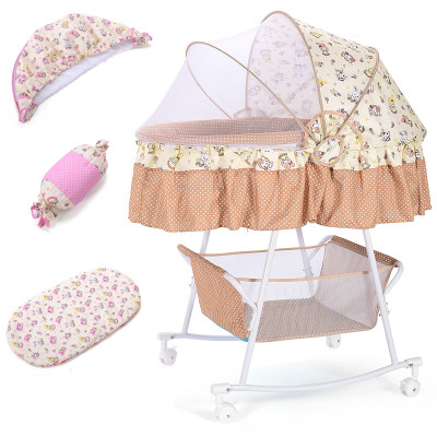 Crib bed  cradlenewborn shake bed with mosquito net multi-function pacify bb  with roller sleeping baske