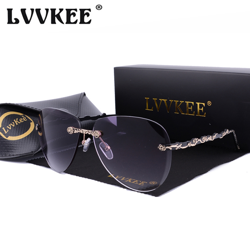 LVVKEE 2018 Elegant Ladies Brand Designer Rimless Sunglasses For Women Gradient Shades Sun Glasses UV400 Oculos de sol with case