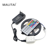 1Pcs 5M RGB LED Strip light 2835 (3528) SMD 24/44 Keys Remoter 12V 3A Power Adapter For DIY Indoor Decoration lamp Tape lighting