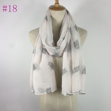 Popular 100% viscose women fashion owl scarf white and grey