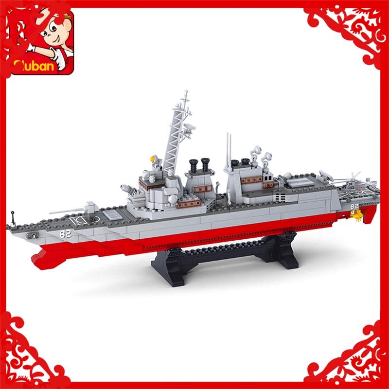 SLUBAN 0390 615Pcs Army Navy Destroyer Warship Model Building Block Construction Figure Toys Gift For Children Compatible Legoe<br>