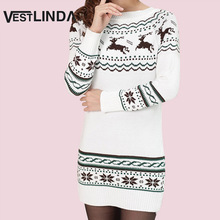 VESTLINDA Women Sweater Dress Snowflake Elk Print Christmas Short Mini Dresses Autumn Winter Bottom Vestidos Women Knitted Dress