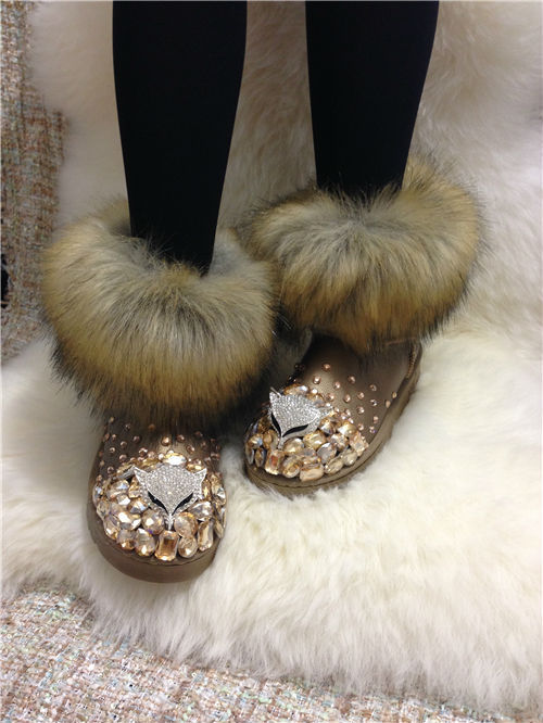 European stations new winter snow boots diamond imitation fox fur  warm cotton-padded heavy-bottomed female cotton-padded shoes<br><br>Aliexpress