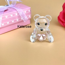 (80pcs/lot)FREE SHIPPING+Choice Crystal Collection Pink Crystal Teddy Bear Figurines Baby Girl Shower Favors Birthday Party Gift
