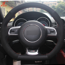 XUJI Black Genuine Leather Suede Car Steering Wheel Cover for Audi TT 2008-2013(China)