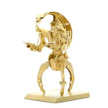 Star Wars Chinese toy 3D Metal Model Etching Puzzle 2 Sheets Creative gift brass DESTROYER DROID golden JWLELE@
