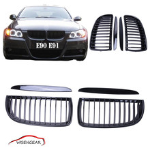2Pcs Black Auto 4D Car Front Kidney Grille Grill 3 Series For BMW E90 E91 318i 320i 323i 325i 328i 335i 2005-2008 C/5