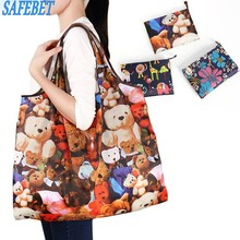 SAFEBET Brand Portable Shopping Bags Large Capacity Women Foldable Shopping Bag Fashion Cartoon Travel Tote bag UK Shopping Bags